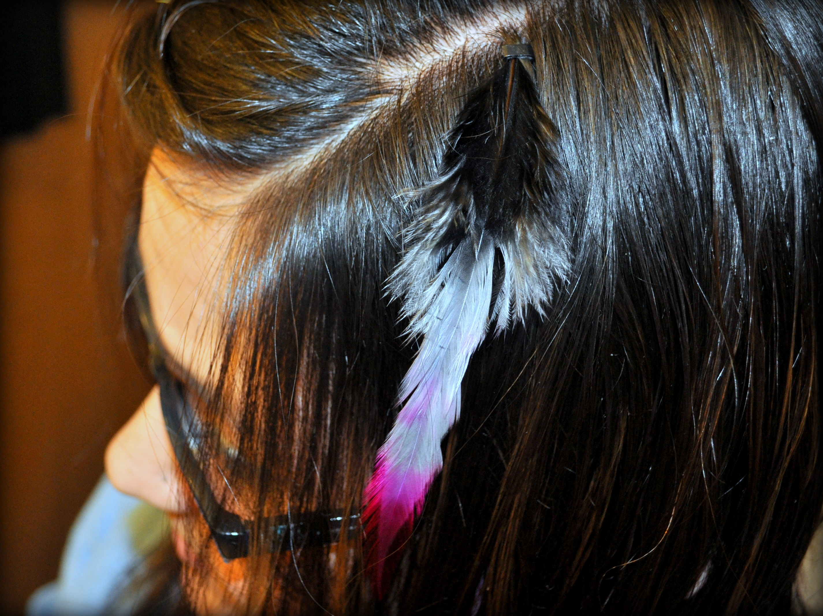 Diy feather hair extensions no special tools required the bead and feather should be securely attached to your hair you can wash them dry them and heat styling your hair should not damage them at all pmusecretfo Gallery